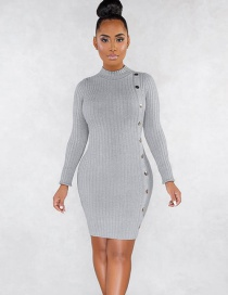 Fashion Gray Metal Single-breasted Crew Neck Dress