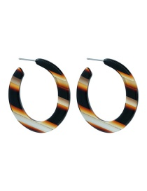 Fashion Black Color-block C-shaped Acetate Board Earrings