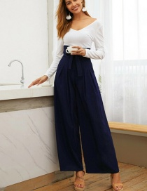 Fashion Tibetan Blue Lace Up Pleated Wide Leg Pants
