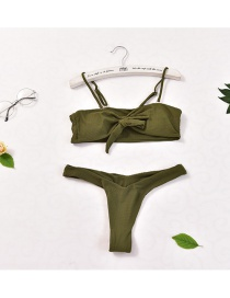 Fashion Armygreen Open Strap Chest Pad Without Underwire Knotted Briefs Split Bikini