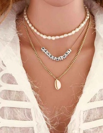 Fashion Golden Shell Shaped Pearl Letter Multilayer Necklace