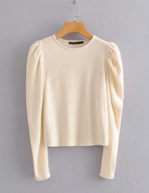 Fashion Khaki Puff Sleeve Round Neck Sweater