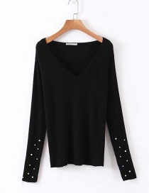 Fashion Black V-neck Knitted Sweater With Beaded Cuffs