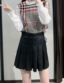 Fashion Black Pleated Faux Leather Short Skirt