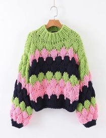 Fashion Green Thick Wool Colorblock Knitted Sweater