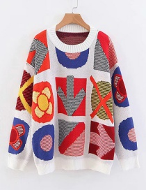 Fashion Color Geometric Patchwork Knitted Sweater