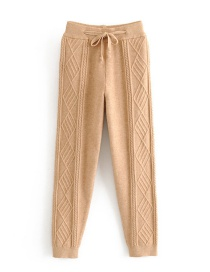 Fashion Camel Twisted Lace-up Knitted Pants