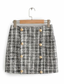 Fashion Gray Double-breasted Checked Skirt