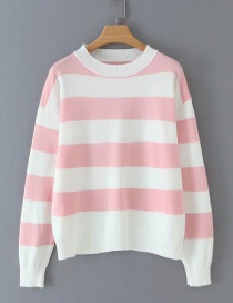 Fashion Pink Striped Crew Neck Sweater
