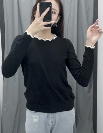 Fashion Black Contrast Wave Pattern Fungus Round Neck Sweater