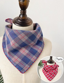 Fashion Blue Red Lattice Double-sided Plaid Baby Triangle Towel