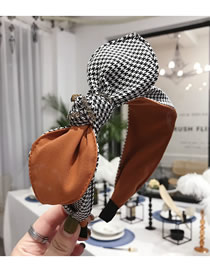 Fashion Orange Houndstooth Rabbit Ear Bow With Diamonds