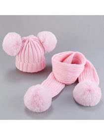 Fashion Set-powder Thread Wool Ball Wool Baby Hat Scarf Set