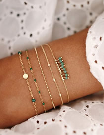 Fashion Green Chain Disc Bead Bracelet Set