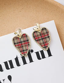 Fashion B Love Long Plaid Fabric Heart Earrings