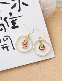 Fashion Golden Contrasting Lucky Cat Earrings