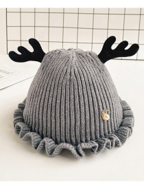 Fashion Gray Children's Hat With Small Antlers