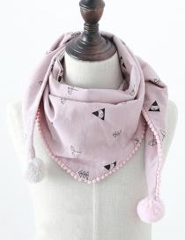 Fashion Geometric Pink Geometric Print Fur Ball Children's Triangle Scarf