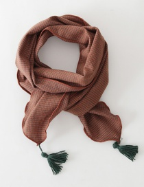Fashion Maroon Checked Fringed Children's Scarf