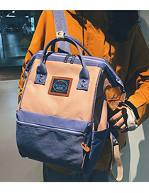 Fashion Purple Pink Stitched Contrast Canvas Backpack