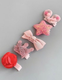 Fashion Pastel Pentagram 5-piece Set Rabbit Star Bow Hair Clip Set