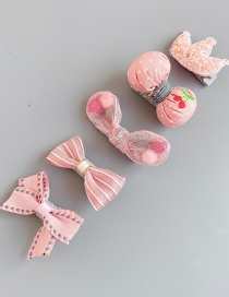 Fashion Pink Bow Set Of 5 Crown Bow Children's Hair Clip Set