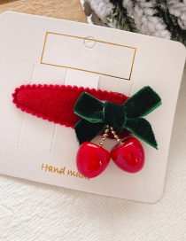 Fashion 10 # Red Cherry Bb Clip Cherry Bow Child Hairpin