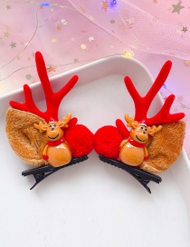 Fashion Elk Red Antlers 1 Pair Antler Elk Hair Clip Set