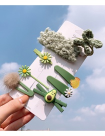 Fashion Avocado Series # 9 Piece Set Flower Avocado Banana Hair Clip Set