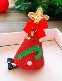 Fashion Red Christmas Tree Christmas Hat Star Cane Child Hairpin