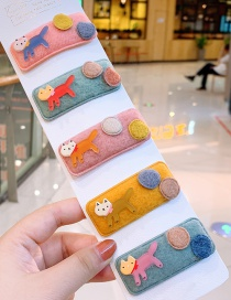 Fashion Kitten Kitten Stitching Rectangular Children's Hair Clip Set