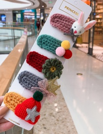 Fashion Little Rabbit Series # 5piece Set Bunny Flower Hat Crown Children Hair Clip Set