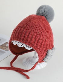 Fashion Red Wine Ear Protection Star Hair Ball Baby Hat