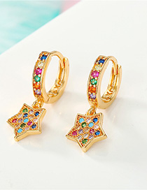 Fashion Color Diamond Star Earrings
