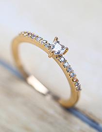 Fashion Golden Heart Ring With Zircon