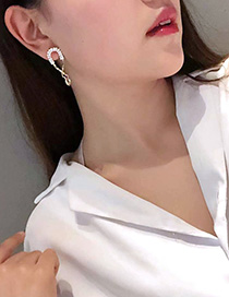 Fashion Golden U-shaped Diamond Chain Earrings