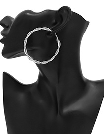 Fashion White K Winding Ring Round Wrapping Earrings