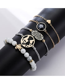 Fashion Silver Pineapple Love Turtle Map Anklet Set