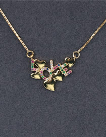 Fashion Color Heart Shaped Diamond Necklace