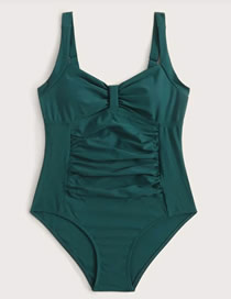 Fashion Green Pleated Panel Swimsuit