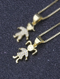 Fashion Golden Girl With Diamond Necklace