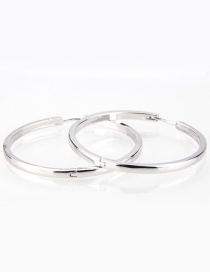 Fashion Platinum-plated Smooth Plate Round Earrings