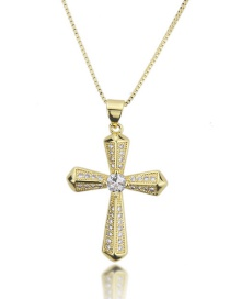 Fashion Gold-plated Geometric Faceted Cross Necklace With Diamonds
