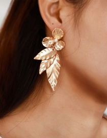 Fashion Gold-plated Pearl Flower Leaf Earrings