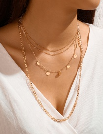 Fashion Golden Chain Disc Multilayer Necklace
