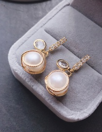 Fashion Golden Pearl Earrings With Diamonds