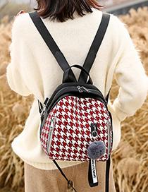 Fashion Red Stitched Rhombus Contrast Shoulder Bag