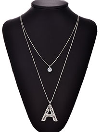 Fashion Silver Alloy Diamond A Letter Necklace