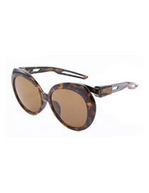 Fashion Amber Frame/gray Leg/full Tea Flakes Large Round Frame Cutout Temple Sunglasses