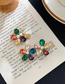 Fashion Two Flowers-colored Rhinestone Pearl Flower Hairpin Petals (single Price)